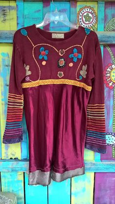 boho hippie tunic top embrodiery applique eco freindly upcycled gypsy boho chic shabby