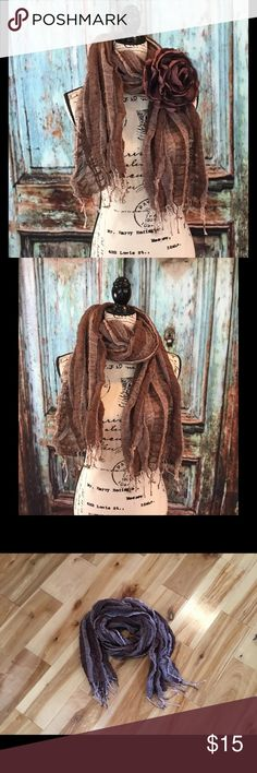 """Scarf brown and cream A fun neutral scarf in br0wn and cream color. Measures approximately 99""""L x 22""""W the flower is not part of the scarf. If you are interested in the flower please check out my closet. Taleen Accessories Scarves & Wraps"""