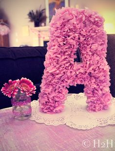 Ruffled Initial Table Decor by Hostess to the Host