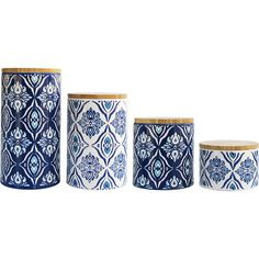 Offer stylish storage options to your kitchen counter or powder room vanity with this stoneware canister set, featuring a medallion pattern in blue....