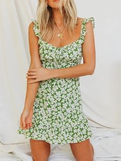 Buy Floral Tie Ruffled Mini Dress without Necklace - Green in the online store - BigShopStyle Vintage Silhouette, Maxi Shirt Dress, Colorful Fashion, Green Dress, Floral Tie, Fit And Flare, Sleeve Styles, New Dress, Floral Prints