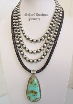 Schaef Designs Jewelry | Kingman turquoise & sterling silver pendant by D Troutman | Schaef Designs Turquoise & Southwestern Jewelry | New Mexico