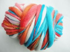 Red, Blue, and Rust Thick and Thin Yarn - Summer Afternoon - Handspun Hand Dyed Polwarth Wool