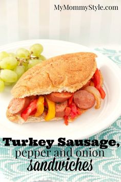 turkey sausage, pepper and onion sandwiches