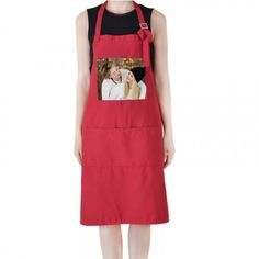 Personalised Adult Apron With Pocket and personalized photo Red color | Gifts4allshop -  on ArtFire