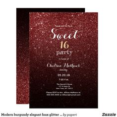 b6c11e54 Modern burgundy elegant faux glitter Sweet 16 Invitation A modern burgundy  elegant faux glitter glam Sweet