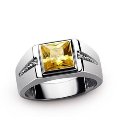 Classic Men's Ring with Yellow Citrine and Natural Diamonds in 925 Sterling Silver #giftforhim #mensfashionpost #jewelryoftheday #ownit #onyx