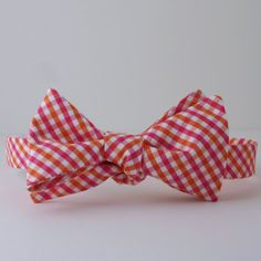 Pink and Orange Check Bow Tie by SouthernBeaus on Etsy, $38.00