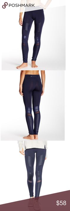"""ELECTRIC YOGA Moto Pants NWT! In Navy Pintuck ribbing and contrast inserts make moto style on a stretch knit athleisure pant featuring topstitched seams and waistband pockets.  *Banded waist *Hidden waistband pocket *Back zip waistband pocket *Fitted leg *Mid rise *Approx. 8"""" rise, 30"""" inseam *87% polyester, 13% elastane *Fits true to size   ❌NO TRADES  I❤️Bundles ❤️REASONABLE OFFERS ONLY PLEASE❤️ Electric Yoga Pants Leggings"""