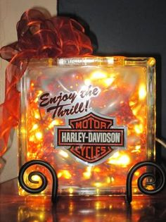 glass block crafts harley davidson | Harley-Davidson Glass Block Lamps (Flint)-5