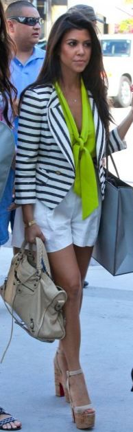 Kourtney Kardashian // Mason shirt + Rachel Roy shorts + McGuinn jacket + Christian Louboutin shoes + Balenciaga purse