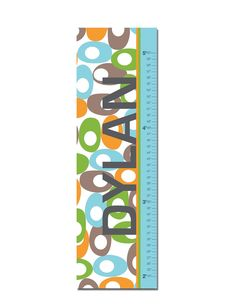 """Growth Chart Height Chart Personalized Canvas  for Children- Oval Pattern- 13"""" X42"""" Inches. $48.00, via Etsy."""