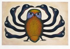 "Kenojuak's Birds via 50 Watts - ""The great Cape Dorset printmaker Kenojuak Ashevak died on January 7 at age 85. I've been meaning to feature her work since 2010 (my trips to Canada have resulted in a stack of Inuit art books). Here's a selection of her ""birds"" from the last fifty years. I learned of her death today from Bouwe van der Molen."""