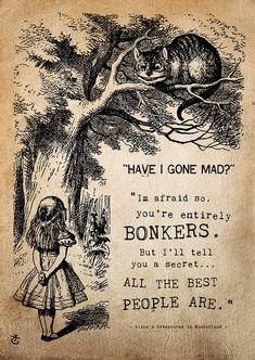 alice in wonderland 'bonkers' print by i am nat | notonthehighstreet.com