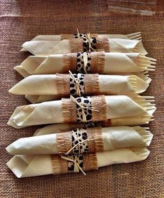 Baby Shower Jungle Theme: Wrap silverware and napkins in burlap and animal print ribbon. Jungle Theme Decorations, Jungle Theme Parties, Safari Theme Party, Safari Birthday Party, Baby Party, Baby Shower Parties, Baby Shower Themes, Shower Ideas, Africa Theme Party