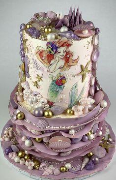 Little Mermaid Cakes, Mermaid Birthday Cakes, First Birthday Cakes, Birthday Cake Disney, Pretty Cakes, Cute Cakes, Beautiful Cakes, Amazing Cakes, Sirenita Cake