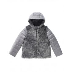 Padded jacket with hood, standing collar and centered zip closure. Soft faux fur insert on the bust at front and inserted pockets on the side. Nylon sleeves and hood with visible stitches.