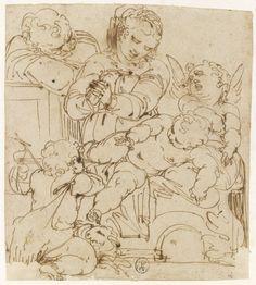 Inventaire du département des Arts graphiques - Sainte Famille avec le petit saint Jean Baptiste et un ange - CAMBIASO Luca