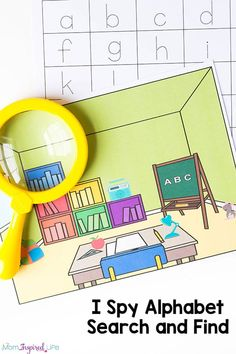 This I Spy Alphabet Search and Find is a really fun, hands-on way to practice letter identification and letter writing. Printable Activities For Kids, Preschool Printables, Alphabet Activities, Letter Identification Activities, Preschool Worksheets, Kindergarten Learning, Preschool Learning Activities, Fun Learning, Preschool Names