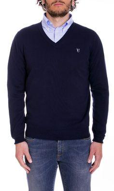 Trussardi Jeans | Maglia Trussardi Jeans Uomo Scollo V Col. Blu - Shop Online su Dursoboutique.com 520001