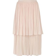 Light pink layered pleated midi skirt - midi skirts - skirts - women