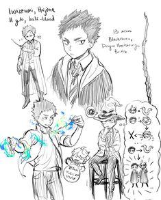 Iwaizumi Hajime in Hogwarts, at Slytherin House ('cause Tooru of course xD) from the anime Haikyuu! Haikyuu Funny, Haikyuu Manga, Haikyuu Fanart, Haikyuu Ships, Manga Anime, Oikawa X Iwaizumi, Haikyuu Karasuno, Iwaoi, Kagehina