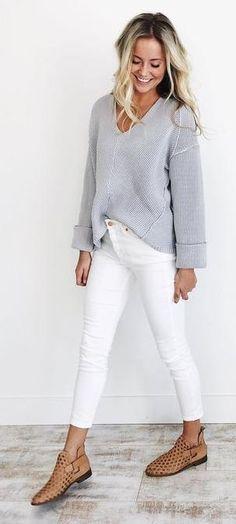neutrals. grey knit. white skinny jeans.
