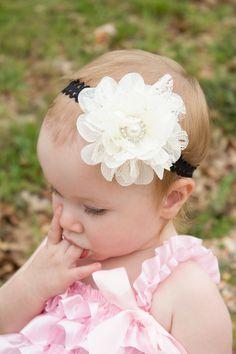 Cream Lace Flower Headband Baby Girl Lace by BellaGraziaDesigns, $7.50