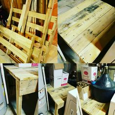 These pallets keep on working - this time as a Pallet Wine Fermenting Table. I wanted to build a table to hold my home made wine in the two Demi Johns that I have. One demijohn is a 15 gallon, and the other is a gallon, so they are pretty wide, Pallet Side Table, Pallet Dining Table, Build A Table, Repurposed Wood, Recycled Pallets, Wooden Pallets, Outdoor Pallet Projects, Pallet Ideas, Pallet Bike Racks