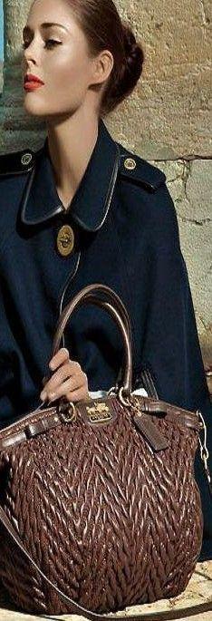 Coach ~Leather Woven Handbag, Brown