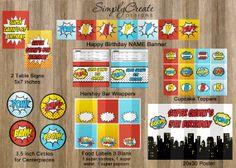 Superhero Party Package Printable DIGITAL by SimplyCreateDesigns, $18.00