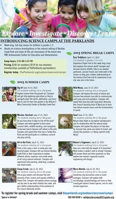 Get outdoors! New, full-day camp experiences for grades 1-5! Camps at The Parklands offer exciting, enriching, discovery-based field experiences that allow children to touch, see and learn about the world around them. Children will participate in hands-on science investigations in the safe, natural setting of Beckley Creek Park and through the use of state-of-the-art classrooms at the PNC Achievement Center for Education and Interpretation. http://theparklands.org/outdoorclassroom/camps/
