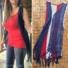 Patriotic Crochet Vest with Fringe for Adult Crochet Pattern