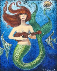 Whimsical Musical Mermaid & fish Original Art by HalstenbergStudio, $200.00