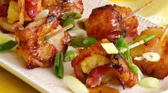 Bacon Pineapple Water chestnut Kobabs