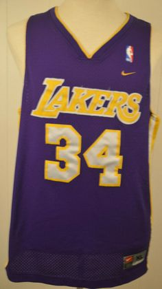 cba3edb5a Nike Los Angeles Lakers Jersey 34 Shaquille O Neal NBA Mens XL Purple Sewn   Nike  LosAngelesLakers