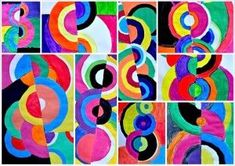 Here's an exercise of painting, based on the colors primary, secondary and achromatic. Inspired by the works of Sonia and Robert Delaunay, these acrylic paintings were made by students of Grade 6th. A