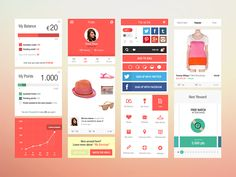 Flat Ui Kit for iOS Fashion App by Helder Leal