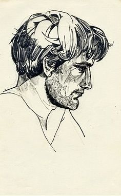 Untitled (Male Portrait in Profile), pen and ink by Sylvia Plath.  (Link to slideshow of sketches by Sylvia Plath in the Paris Review.)