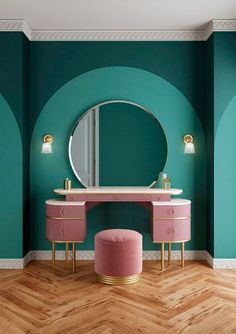 Zelda: A tribute to the femininity of the The new wash basin from . - Zelda: A tribute to the femininity of the The new wash basin from Devon & Devon – Dormitori - Décoration Mid Century, Mid Century Decor, Mid Century Furniture, Pink Dressing Tables, Dressing Table Design, Art Deco Dressing Table, Dressing Table Vanity, Dressing Room, Simple Dressing Table