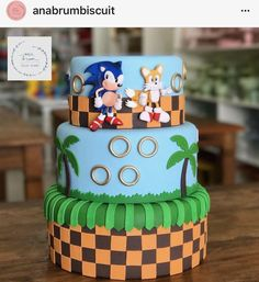 Sonic Birthday Cake, Sonic Birthday Parties, Sonic Party, Bolo Sonic, Sonic Cake, Shimmer And Shine Cake, Sonic The Hedgehog Cake, Bolo Fack, Dummy Cake