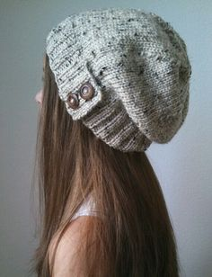 Knit slouchy hat with button/s - OATMEAL (more colors available - made to order) - 中折れ帽 Knit Crochet, Crochet Hats, Crochet Bunny, Free Crochet, Textured Yarn, Slouchy Hat, Love Hat, Cute Hats, Headgear