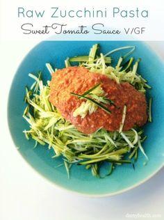 Raw Zucchini Pasta with Sweet Tomato Sauce. http://www.damyhealth.com/2013/03/raw-zucchini-pasta-with-sweet-tomato-sauce/