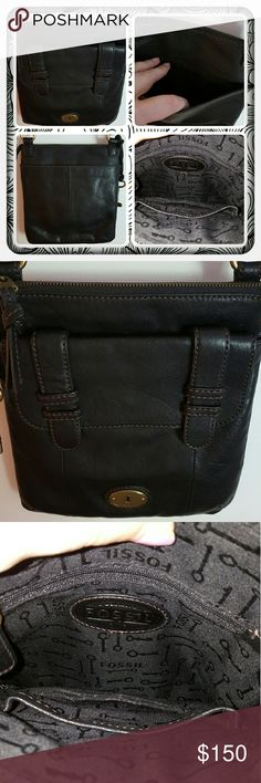 NWOT Genuine Leather Fossil Crossbody  Brand New Never Used Black Fossil Crossbody In Genuine Leather. This Crossbody Is So Cute Just The Right Size For Running Errands Or A Night Out. There's So Many Pockets On Front, Back & Interior Strap Is Adjustable You Can Wear As Shoulder Bag Or Crossbody Pretty Versatile. Excellent Condition Bought From Another Seller But Never Used It  PAYPAL  TRADES  OFFERS PRICE FINAL  Fossil Bags Crossbody Bags