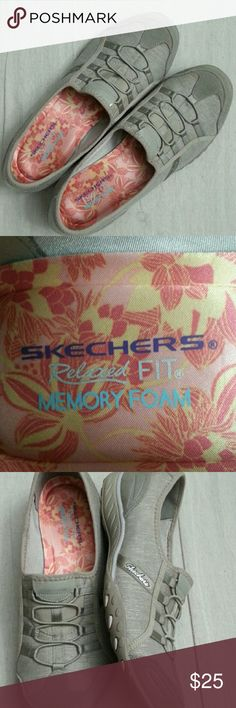 New Sketchers Relaxed Fit Sneakers Tan color breathable shoe. Stretchy outside and memory foam inside. They are amazingly comfortable! They run a little small. These are closer to 10-10.5. These do not come with the box. sketchers Shoes Sneakers