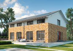 """Modell """"Modena"""" - Stylisches Doppelhaus in Mischfassaden-Optik mit giebelseitigem Hauseingang. Raumgrundfläche gesamt: 118,92 qm"""
