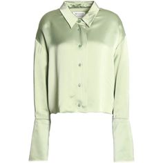 Maison Margiela Cropped satin-crepe blouse (890 RON) ❤ liked on Polyvore featuring tops, blouses, light green, crepe top, light green blouse, crepe blouse, green satin top and green blouse