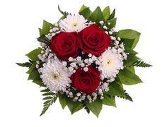 Punavalkoinen kukkakimppu