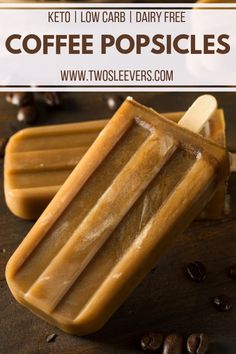 These Dairy-Free, Bulletproof-inspired Coffee Popsicles are a delicious way to stay cool while still enjoying that strong coffee flavor. Low Carb Vegetarian Recipes, Paleo, Keto Recipes, Cream Recipes, Healthy Recipes, Low Carb Desserts, Dessert Recipes, Healthy Desserts, Coffee Popsicles