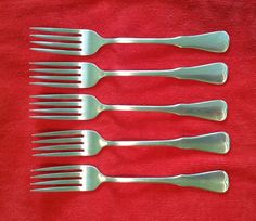 5 Dinner Forks Patrick Henry by Oneida Community Stainless Flatware Silverware #Oneida